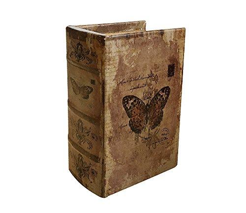 zeitzone Hohles Buch mit Geheimfach Schmetterling Buchversteck Antik-Stil 15x10cm