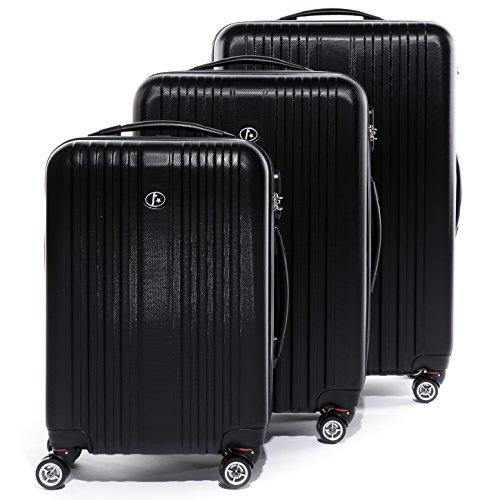 FERGÉ ® Dreier Kofferset TOULOUSE Trolley-Koffer Hartschale leicht Hartschale | Set 3-teilig Hartschalenkoffer mit 4 Zwillingsrollen (360°) | Koffer schwarz | PREMIUM-QUALITÄT