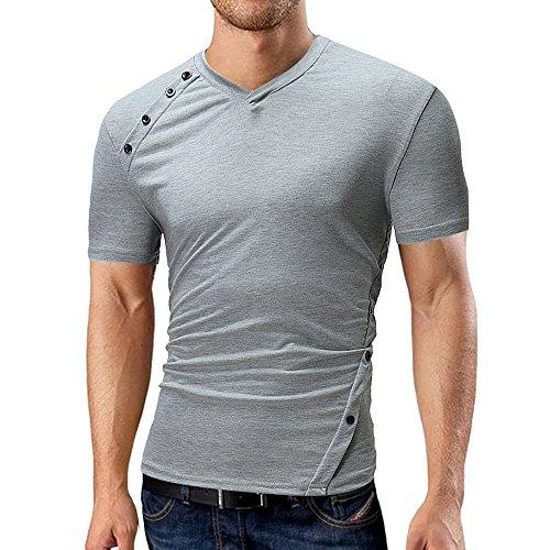 CICIYONER Herren Slim Fit Shirt, Rundhals Volltonfarbe Bluse Lässig Asymmetrisches Design T-Shirt Kurzarm Muscle Tops M L XL XXL