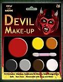 Halloween Teufel Make Up Kit, das Make-up Set kommt mit Fake Blood, für Herren Damen & Kinder. Einfach anzubringen und zu nehmen Off Face Farben.