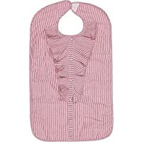 Lady de adultos impermeable babero, Rosa Sparkle Stripe por Frenchie Mini Couture