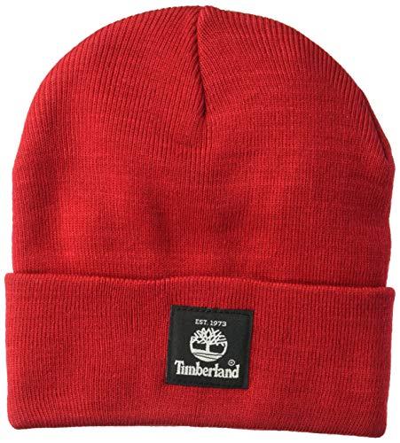Timberland Herren Short Watch Cap with Woven Label Hut für kaltes Wetter, Rot - Tango Red, Einheitsgröße