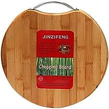 Jinzifeng Circular Eco-Friendly Natural Bamboo/Wooden Chopping Cutting Board with Handle, 30x30cm