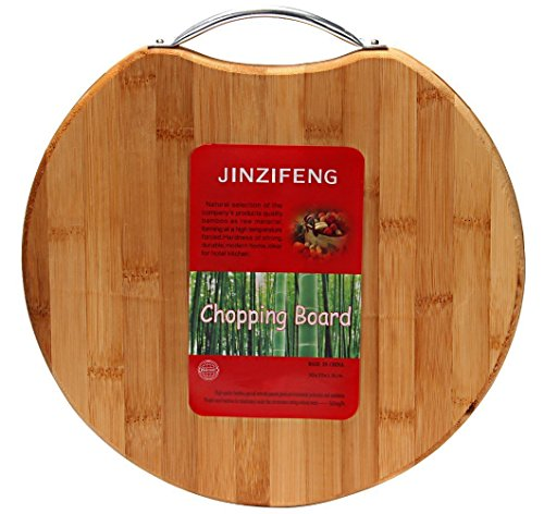 Jinzifeng Circular Eco-Friendly Natural Bamboo/Wooden Chopping Cutting Board with Handle, 30 X 30cm