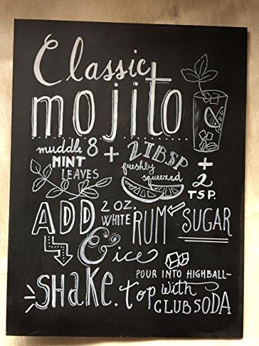 Lizziemargherita Chalk Art MOJITO Tavola 30x40 cm Lavagna Calligrafia Handlettering Decorata con Gesso Bianco Quadro Decorazione Cucina Pranzo Calligrafy