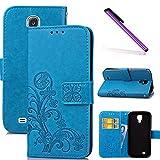 COTDINFOR S4 mini Custodia Cover Lucky Clover PU in Pelle con Wallet Card Holder Stand Flip Case Copertura Custodia per Samsung Galaxy S4 mini Clover Blue SD