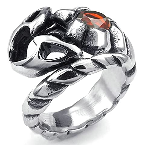 Gnzoe Jewelry,Mens Stainless Steel Rings Bands, Gothic Scorpion Red Silver CZ Size R 1/2