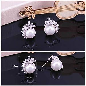 BiBeary Donna elegant Zirconia perla simulata Foglia fiore semplice Orecchini Collana Parure di gioielli
