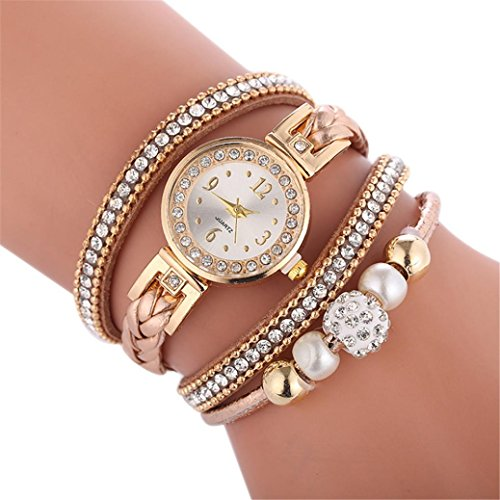 Armbanduhr Damen, erthome Schöne Mode Armbanduhr Damen Diamant Strass Quarzuhr Kreisarmbanduhr Geschenk (Braun)