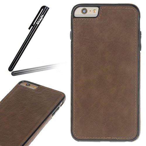 Pelle Custodia Cover per iPhone 6 plus iPhone 6S plus Case ,Ukayfe Ultra Slim Casa Custodia (back cover) rivestita in pelle pieno per iPhone 6 plus iPhone 6S plus,Protettiva Custodia Luxury Puro Color Marrone 5#