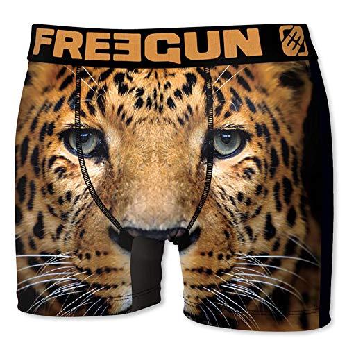 FREEGUN Herren Boxershorts Wild-Animals-Faces-Edition, MEGA Designs in 5 Größen (M/5/48, Leopard) -