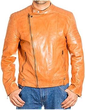 Para hombre de Brown Side Vintage Classic Zip acolchado Brando sin cuello de la chaqueta de cuero del motorista