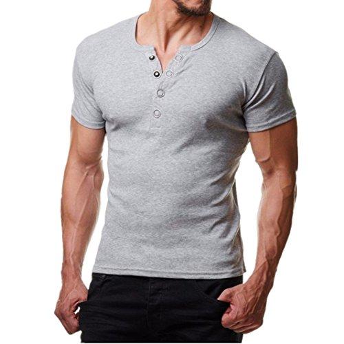 Hiroo t-shirt da uomo, shirts camicia polo camicetta camicie e t-shirt sportive moda camicetta da uomo con bottone maglietta a maniche corte slim fit accostare top in tinta unita (l, grigio)