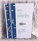 Menü Menükarte Speisekarte Kommunion Konfirmation Fisch Fische personalisierbar blau silber silberglänzend grau …