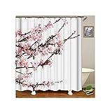 Knbob Gardinen Duschvorhang Pflaumenblüte Rosa Weiß Duschvorhang Mit Vorhanghaken Rosa Weiß 150X200Cm