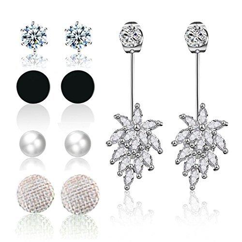 MengPa Round Stud Earrings Sets for Women Pearl CZ Fashion Jewelry