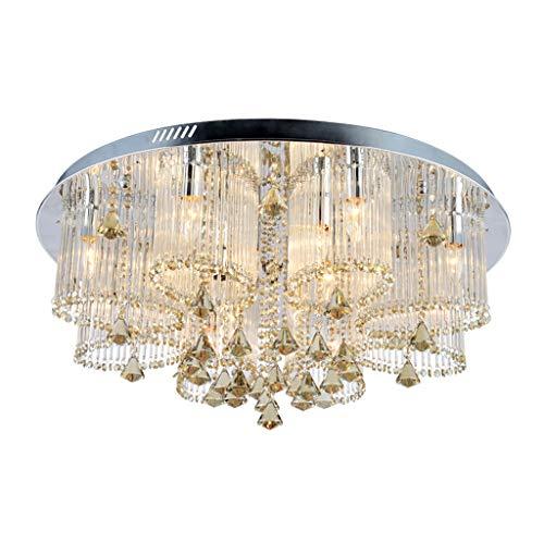 Rudergerät Kristallleuchter Schlafzimmer warme Deckenlampe runde Esszimmerlampe (Color : Black, Size : 50 * 50 * 35cm)