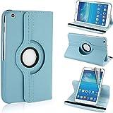 STONG Funda Soporte Carcasa Cuero Giratoria 360 grados Case con función del sueño / despierta para tablet Samsung galaxy tab3 T310 8 pulgadas - Azul de cielo