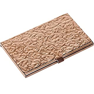 Metal Damask Embossed Business Card Case (Rose Gold Tone)