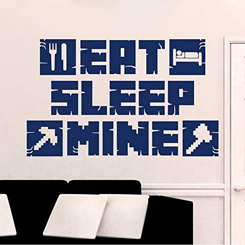 Wuyyii Essen Schlaf Mine Wandtattoo Mine Craft Gamer Poster Kunst Aufkleber Für Kinderzimmer Dekoration Haus Schlafzimmer Dekor Wandbild 42X68 Cm