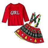 Beikoard Jungen Weihnachten Babykleidung Set Kinder Baby Mädchen Brief T-Shirt Drucken Overalls Kleid Outfits Set Strap Kleid 2 Stück Baby Kleidung Set