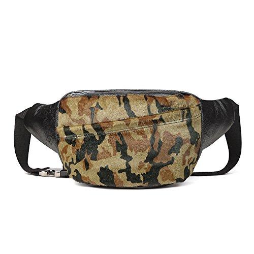 AFCITY Männer Frauen Retro Leder Taille Rucksack Handyhalter Sling Cross Body Bag Hobo Brust Pack (Farbe : Grün) (Hobo Leder Sling-rucksack Echtes)