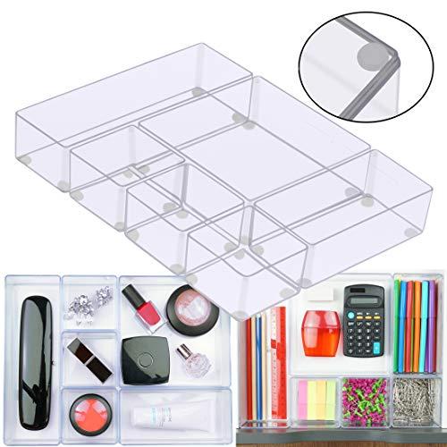 Lilly Things Anti-Rutsch Schubladen Ordnungssystem (6er Set, transparent) Schubladen Organizer Schubladeneinsatz Aufbewahrungsbox für Make-Up Kosmetik Schminktisch Schreibtisch Büro Bad Küche