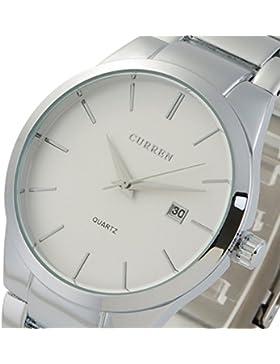OrrOrr Armbanduhr Quarzuhr Modisch Damenuhr Herrenuhr Scharz Analog Schwarz Edelstahl Armband Uhr