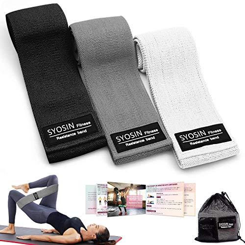 SYOSIN Fitnessbänder, Widerstandsbänder Set Loop-Band für Hüften und Gesäß, 3 Widerstandsstufen für Hintern, Beine und Ganzkörpertraining, Resistance Hip Bands