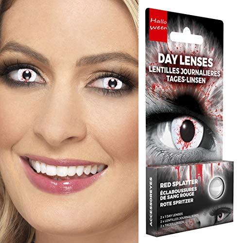NET TOYS Farbige Kontaktlinsen mit Blutspritzern | Weiß-Rot | Aufregendes Unisex-Accessoire Effektlinsen Zombie | EIN Highlight für Halloween & Karneval