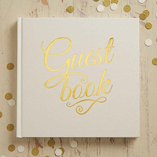 Ginger Ray Hochzeits-Gästebuch efenbeinfarben und Goldfolie, perfektes Metall