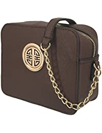 S039 Women Fashion Textured Faux Leather Crossbody Messenger Chain Strap Shoulder Bag (Chocolate) By Solene