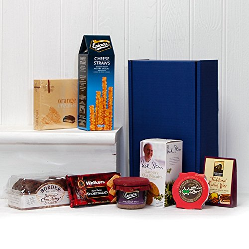 Gift Box Nibbles Hamper with Savoury Biscuits, Pate, Cheese Straws, Biscuits, Mulled Wine Spice Kit, Fruit Pudding & Shortbread - Gift ideas for Father's Day, Birthday, Anniversary and Congratulations Presents