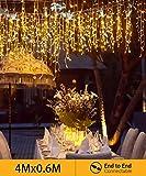Quntis Anschließbare 144er LED 4m×0,6m Lichtervorhang Eisregen Warmweiß, IP44 Lichterkette mit Stecker Innen Außen, Dekobeleuchtung für Zimmer Fenster Wand Balkon Terrase Weihnachten Party Hochzeit