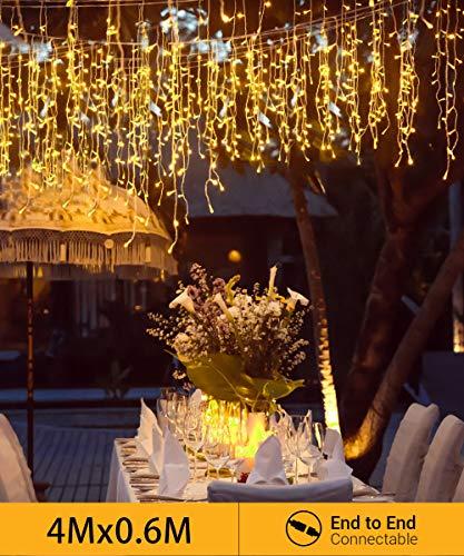 Quntis【Erweiterbar】144er LED 4m×0,6m Lichtervorhang Eisregen Warmweiß, IP44 Lichterkette mit Stecker Innen Außen, Dekobeleuchtung für Balkon, Terrase, Fenster, Wand, Weihnachten, Party, Hochzeit usw