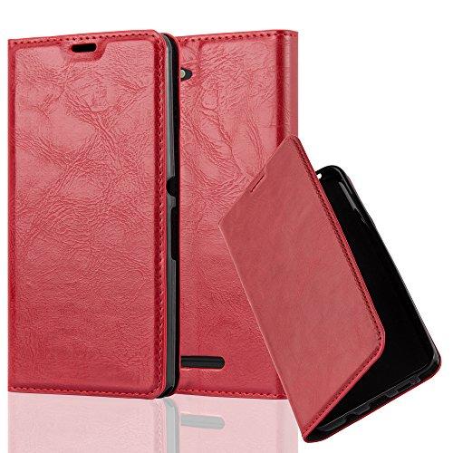Cadorabo Hülle für Sony Xperia E3 - Hülle in Apfel ROT – Handyhülle mit Magnetverschluss, Standfunktion und Kartenfach - Case Cover Schutzhülle Etui Tasche Book Klapp Style