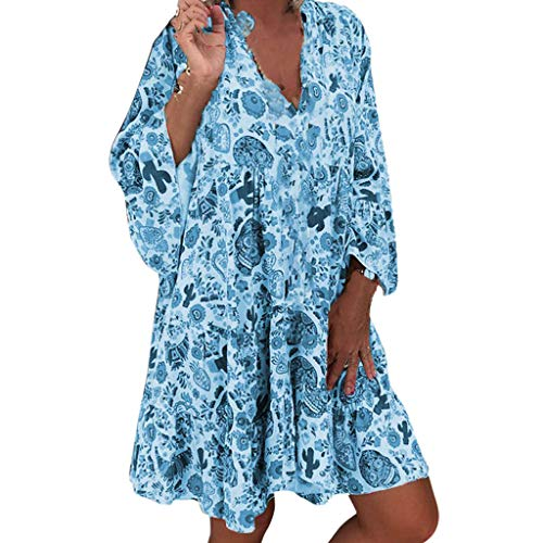 BfmyxgsFrauen beschnittene Ärmel gedruckt lose Größe Kleid V-Ausschnitt Strandkleid Plissee Kleid -