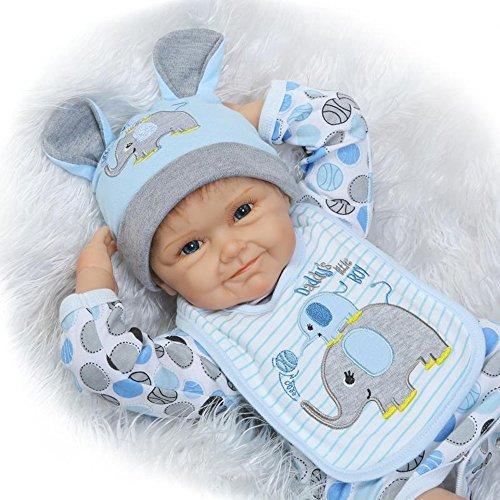 OUBL 22Zoll 55 cm lebensecht Augen auf Reborn Puppen Babys Doll Junge Neugeboren Kinder Silikon Vinyl Günstig Magnetismus Spielzeug Geschenke