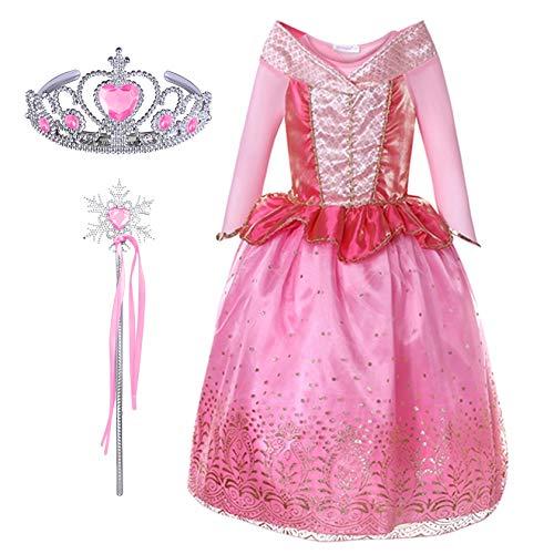 en Prinzessin Dornröschen Aurora Kostüm Kleid Kinder Kostüm Karneval Märchen Cosplay Verkleidung Set Diadem Zauberstab Geschenk Fasching Party Geburtstag Weihnachten Festkleid Rosa ()