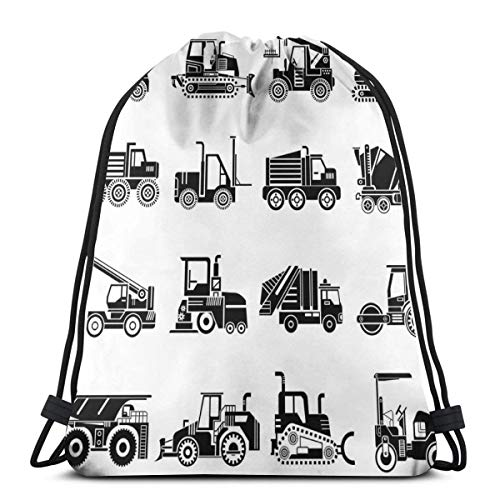 Jiger Drawstring Tote Bag Gym Bags Storage Backpack, Heavy Machinery and Vehicles of Construction Mining Site Drawn In Black On White,Very Strong Premium Quality Gym Bag for Adults & Children