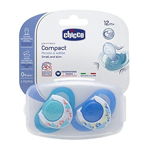 Chicco 00074835210000 Compact Boy Succhietto, Silicone, Blu, 12+ Mesi, 2 Pezzi