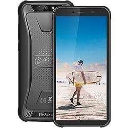 Télephone Incassable, Blackview BV5500Pro Écran 5.5 Pouces HD+au Radio de 18:9, 16Go+3Go, Batterie 4400mAh, 4G Android 9.0, Caméras 8MP+5MP, Télephone Portable Incassable, NFC/Gyroscope/GPS-Noir