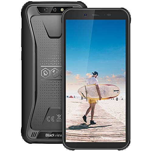 blackview bv5500 pro telefono antiurto, 4g android 9.0, 3gb ram 16 gb rom, tf 128gb, telefono rugged, display 5.5 pollici, batteria 4400 mah, fotocamera 8mp e 5mp, dual sim/nfc/gps/glonass-nero