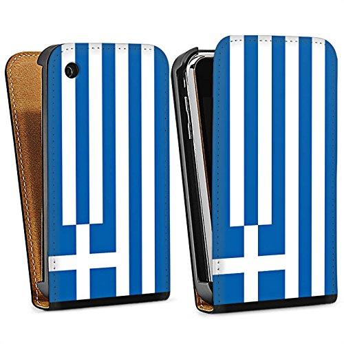 Apple iPhone 5s Housse Étui Protection Coque Grèce Drapeau Grèce Sac Downflip noir