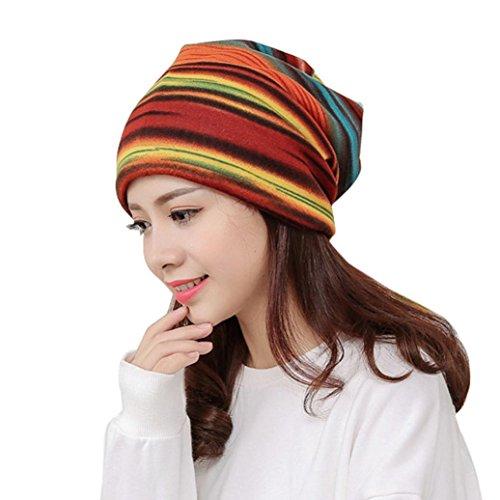 rd Damen Mode Stripe Hut Rüschen Krebs Huts Beanie Schal Kragen Turban Kopf Wickel Kappe (Orange) (Rosa Newsboy Hut)