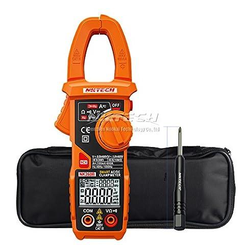 Nktech Nk260b Smart Pince Mètre numérique AC DC Tension courant résistance 10m Ohm fréquence 1kHz rétroéclairage Affichage double écran continuité Ncv testeur 24mm Taille de la mâchoire + Tournevis Tl-1