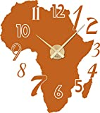 Graz Design Wandtattoo Wandaufkleber Uhr Wanduhr für Wohnzimmer Zahlen Afrika Kontinent (64x57cm//083 haselnussbraun//Uhrwerk gold)