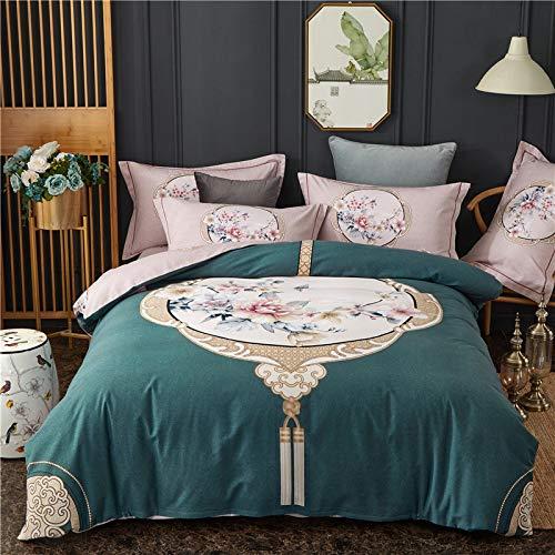 yaonuli Baumwollschleifvierteiliges, prächtiges Herrenhaus aus Baumwolle - Bettbezug blau 2,0, 220 * 240 cm, Bettlaken 245 * 270 cm, Kissenbezug Zwei