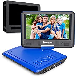 "9"" Tragbarer DVD Player 5 Stunden Akku NAVISKAUTO Auto Kopfstütze Monitor Kopfstützenhalterung SD/USB AV IN/OUT Blau (09001L)"