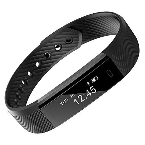 VIMOER Smart-Armband Bluetooth Schrittzähler Armband Schlafmonitor Gesundheit Fitness Tracker Smart Watch (mit Herzfrequenzmesser), Schwarz, 240 x 16 x 10 mm